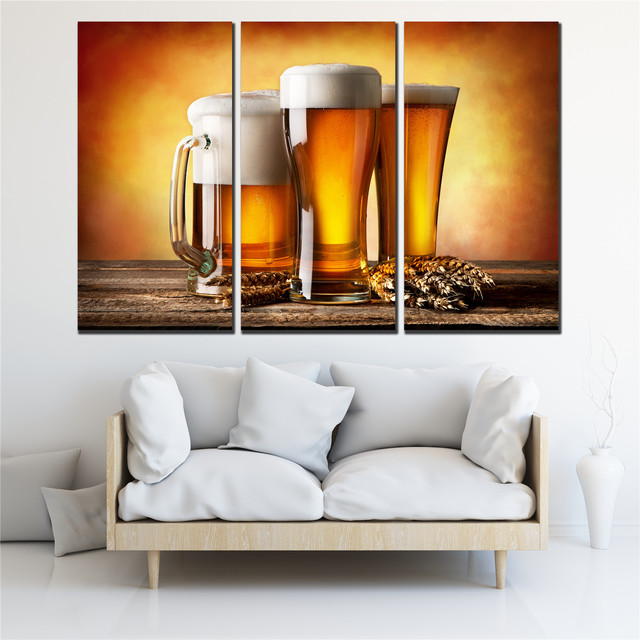 Modular Picture Beer And Wine For Bar Pub Cafe Home Decoration Canvas  Paintings Modern 3 Pcs