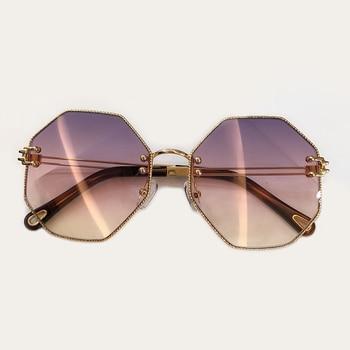Klar Gerahmte Sonnenbrille | Polygonal Sonnenbrille Frauen 2019 Mode Stil Sonnenbrille Vintage Weiblichen Metall Rahmen Klare Linse Retro Brille