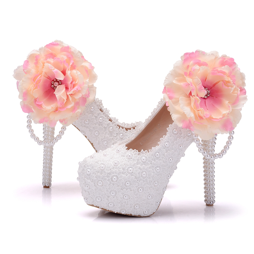 Crystal queen big flowers white lace women wedding shoes high heel crystal queen big flowers white lace women wedding shoes high heel platform pumps sexy slip on bridal shoes white part in womens pumps from shoes on mightylinksfo