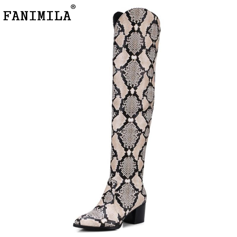 FANIMILA Plus Size 32-48 Ladies Thick High Heels Over Knee Long Boots Women Pointed Toe Slip On Shoes Women Winter Warm Botas genuine leather women over the knee boots pointed toe wedge heels thick warm lady winter long boots plus size 43 44 45 big size