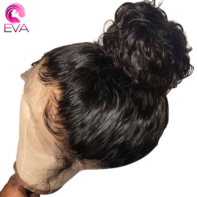 Pelo Eva 180% densidad 360 peluca Frontal de encaje Pre desplumado con pelo de bebé brasileño Remy Pelo Rizado frente humano pelucas para mujeres