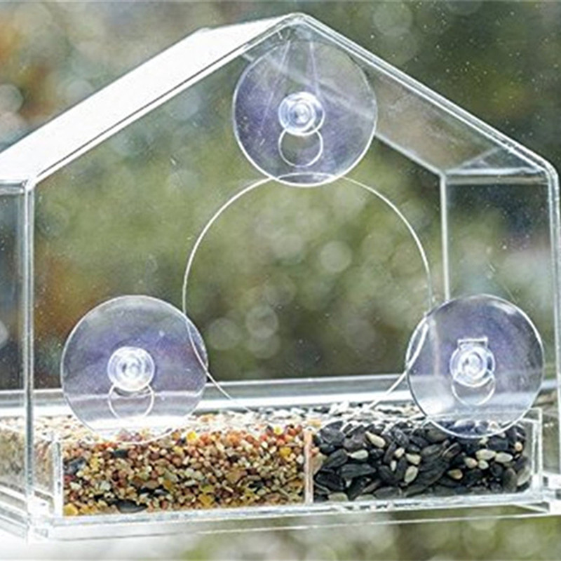 Parrot Lovebird Canary Aviary Transparent Window Outdoor Bird Feeder For Birds Feeding Container For Food Pigeon Pet Supplies