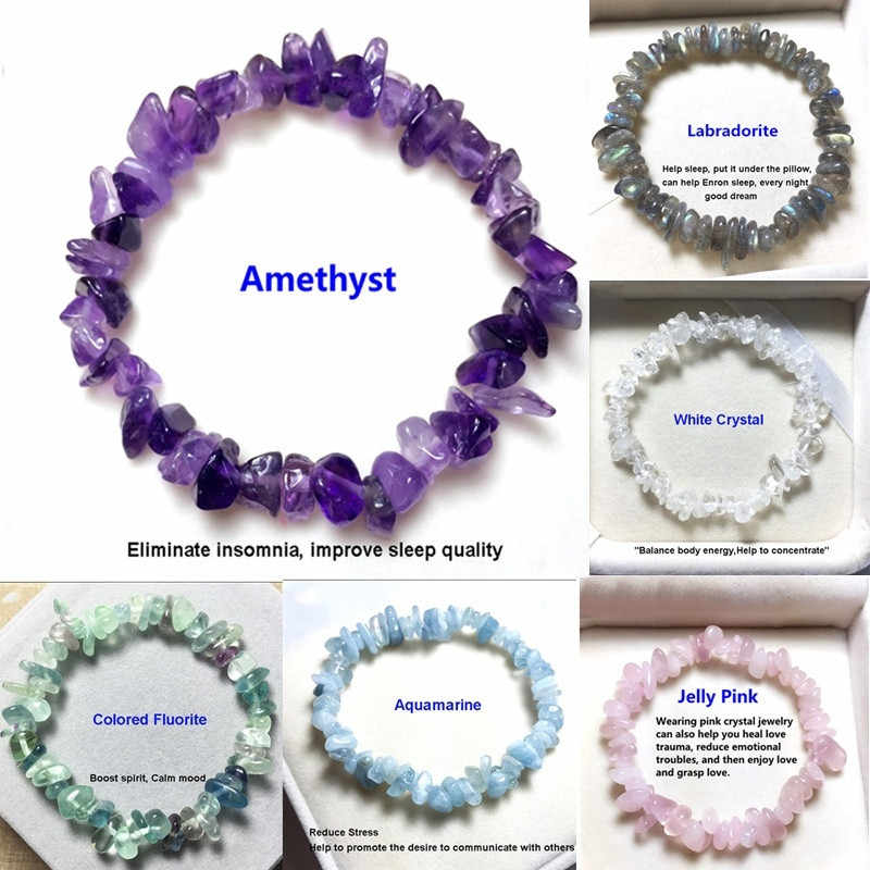 FFWFF DIY Handmade Natural Crystal Chakra charm stone moon tigereye men Gravel Bracelet Beads Bangles Bracelets for women