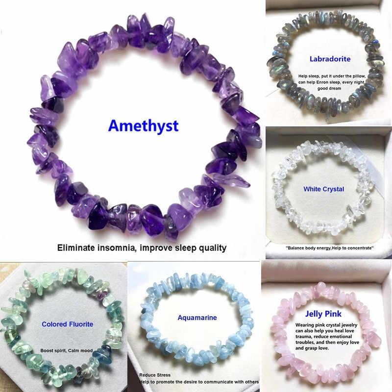 Ffwff pulseira de cristal natural feminina, artesanal, pedra charme lua cascalho, bracelete de miçangas