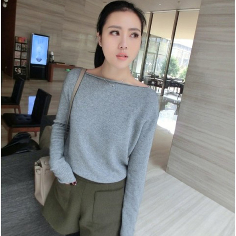 JECH 2017 new cashmere sweater women head with a word knitted sweater women's long-sleeved leisure sweater