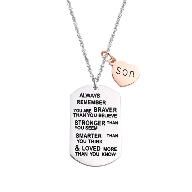 US $3 75 6% OFF|Birthday Gift for Son Daughter Necklace Soldier Tag  Stainless Steel Pendant Necklace with Heart YOU ARE BRAVER THAN YOU BELIEVE  -in