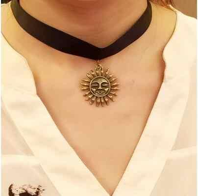 広い太陽ネックレス復元古代の方法のパンクレース襟ネック女の子バンド短い段落鎖骨送料無料
