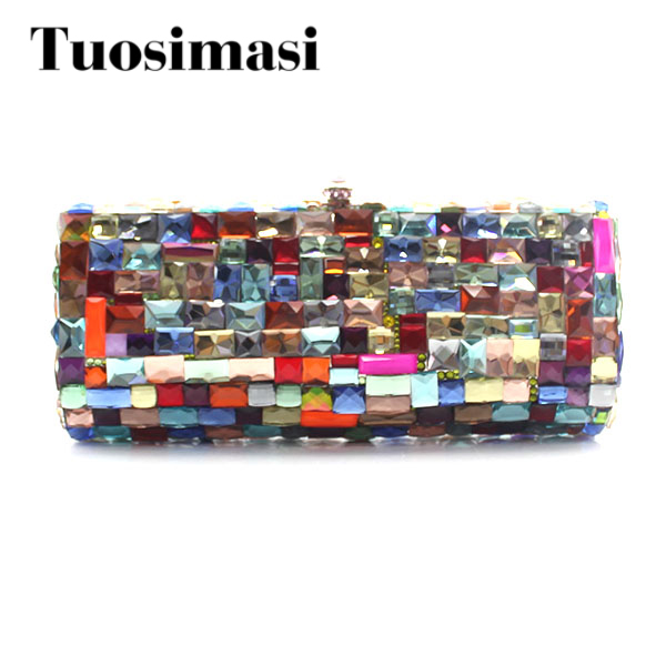Multi Color Big Crystal Evening Bag Clutch Diamond Women Handbag Wedding Party Purse Clutch Bag Women Stone Party Purses women custom name crystal big diamond clutch women evening clutch bag 1020bg
