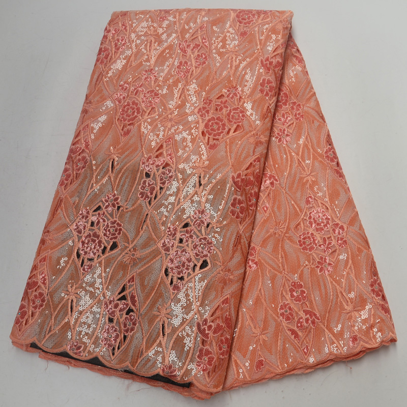 5yards pc high quality peach African handcut organza lace fabric with wonderful embroidery and sequins