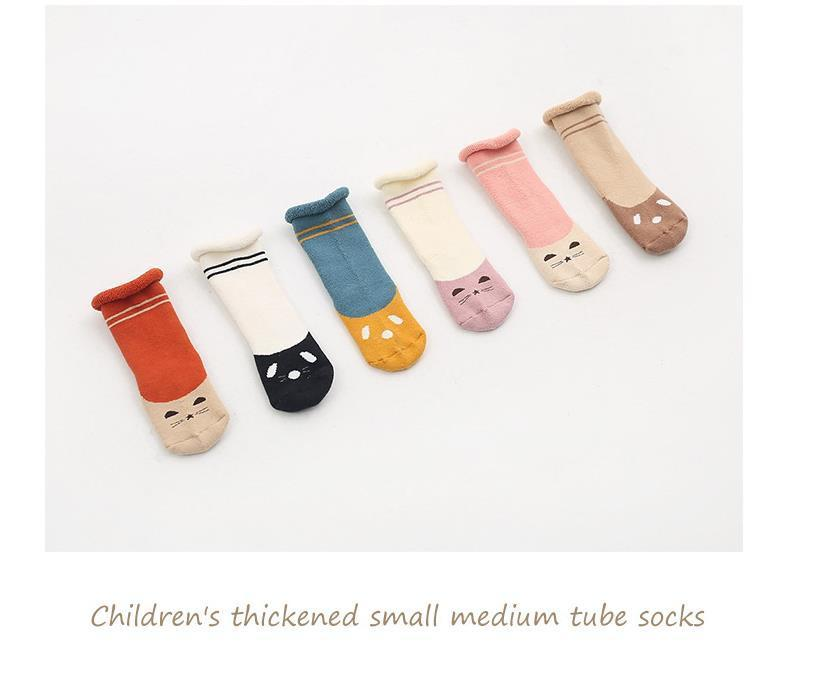 0-2Y Winter Baby Girl Boy Cotton Warm Thickness Knee Socks Children Kids Terry Loose Top Anti-slip Middle Tube Sox 3pairs/Lot 6