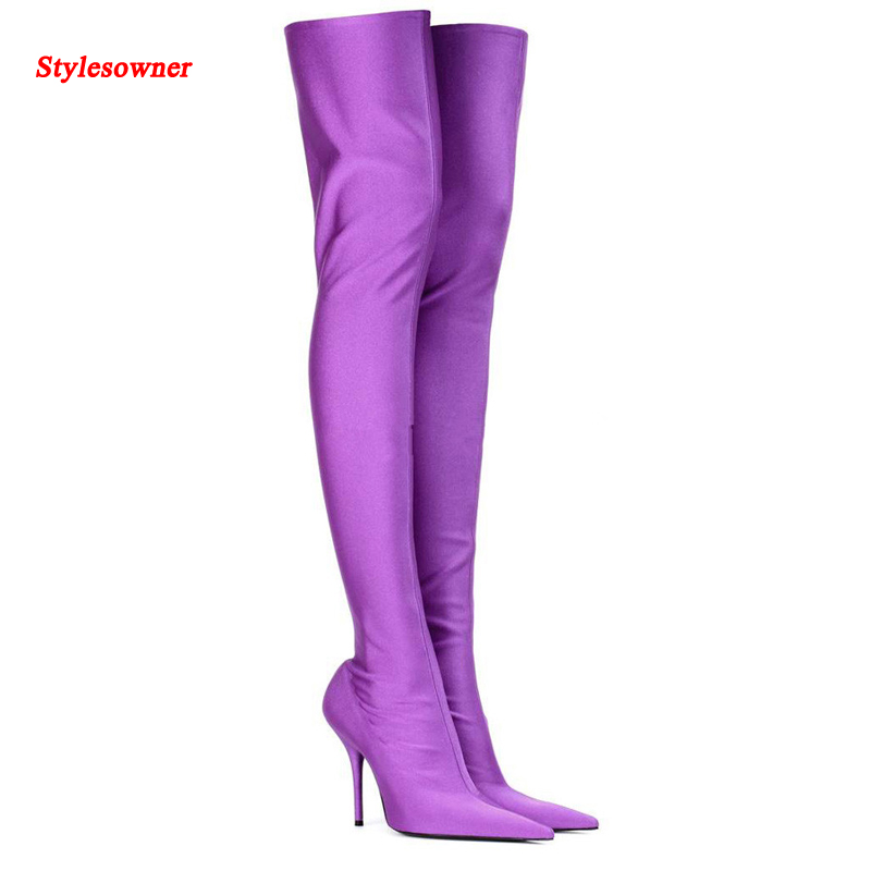 Stylesowner 2017 Sexy Women Long Boots Satin Summer Over The Knee Pointed Toe Boots Slim Style Thin Heel Thigh High Bota 2017 luxury sexy silk over the knee long satin boots women pointed toe high heel shoes women fashion runway thigh high boots