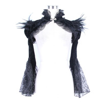 Black Flannel&Lace Feathers Diamonds Stand Collar Long Flare Sleeve Gothic Coat Steampunk Clothing Plus Size Corset Accessories