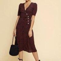 Women Dress Black Heart Hearts One Wrap Style Classic Long Short Sleeve Tea Dress