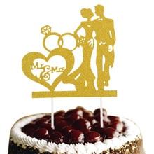 Glittler Bride Groom Wedding Cake Topper Mr & Mrs Flags Engagement Party Baking Decor