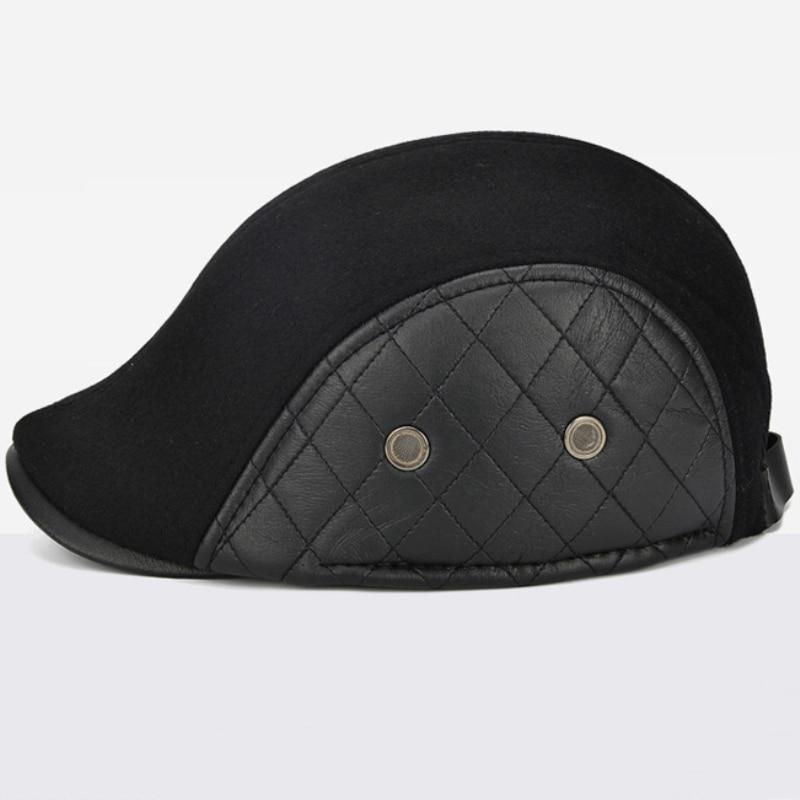 a6557c179cd4ea HT2058 Men Autumn Winter Hat with Ear Flap Elder Men Wool Beret Casual  Solid Leather Flat Ivy Newsboy Cap Warm Dad Hat Beret Cap-in Men's Berets  from ...
