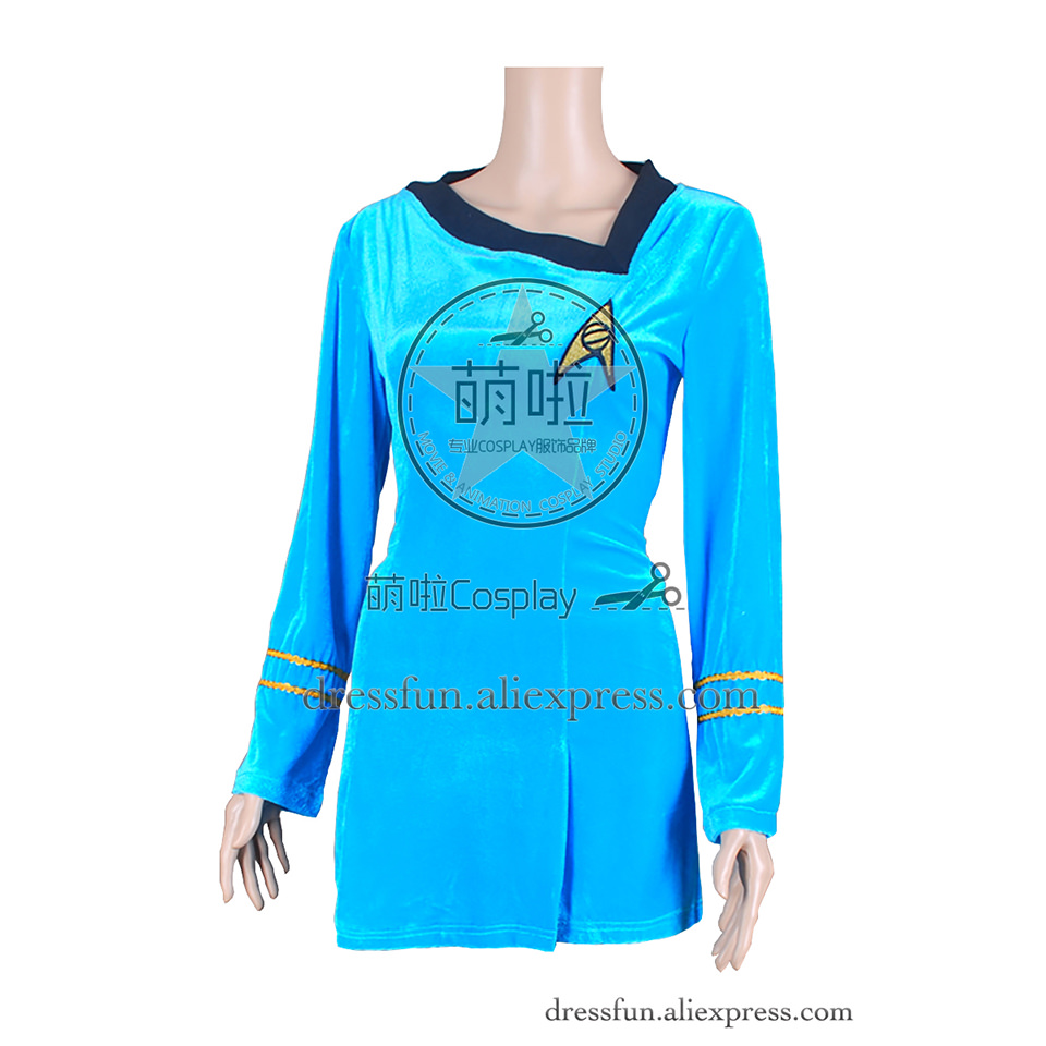 Star Trek TOS The Original Series Cosplay The Female Duty Uniform Blue Dress Suit Outfits Halloween Fashion Party Fast Shipping