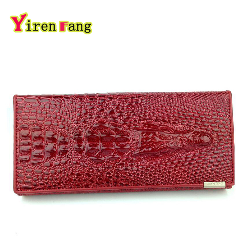 womens wallets and purses 2016 pu Leather head crocodile wallet fashion 3 Long fold designer money clip famous brand clutch
