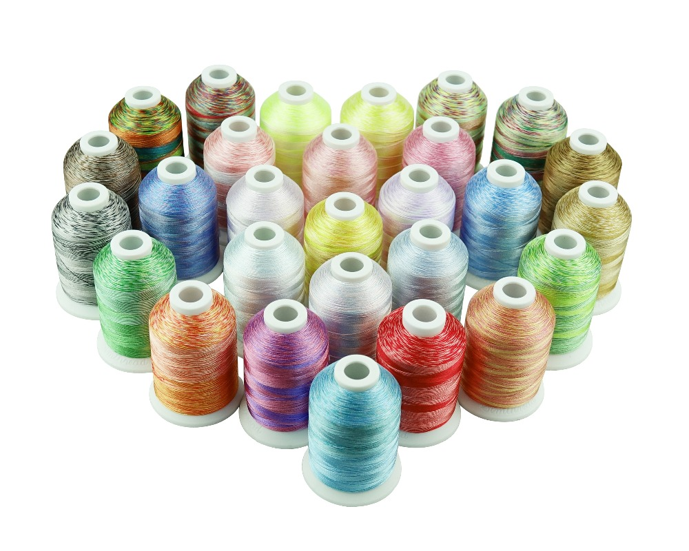 Simthread Assorted 28 Colors Embroidery Machine Thread Variegated Colors Multi Colors Thread