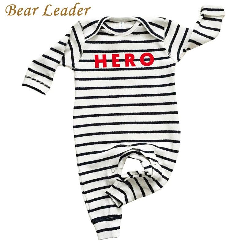 ᗑbear Leader Baby Rompers Autumn Newborn Newborn Striped