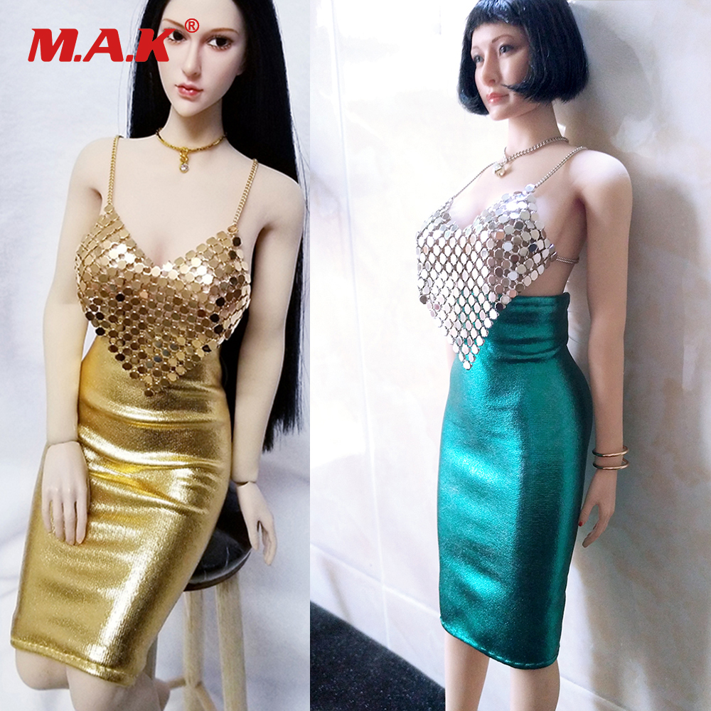 1/6 Scale Female Clothes Set Sexy Golden/Silver Sling Vest Dress for 12 inches PH Large Bust Body Figures Accessories1/6 Scale Female Clothes Set Sexy Golden/Silver Sling Vest Dress for 12 inches PH Large Bust Body Figures Accessories