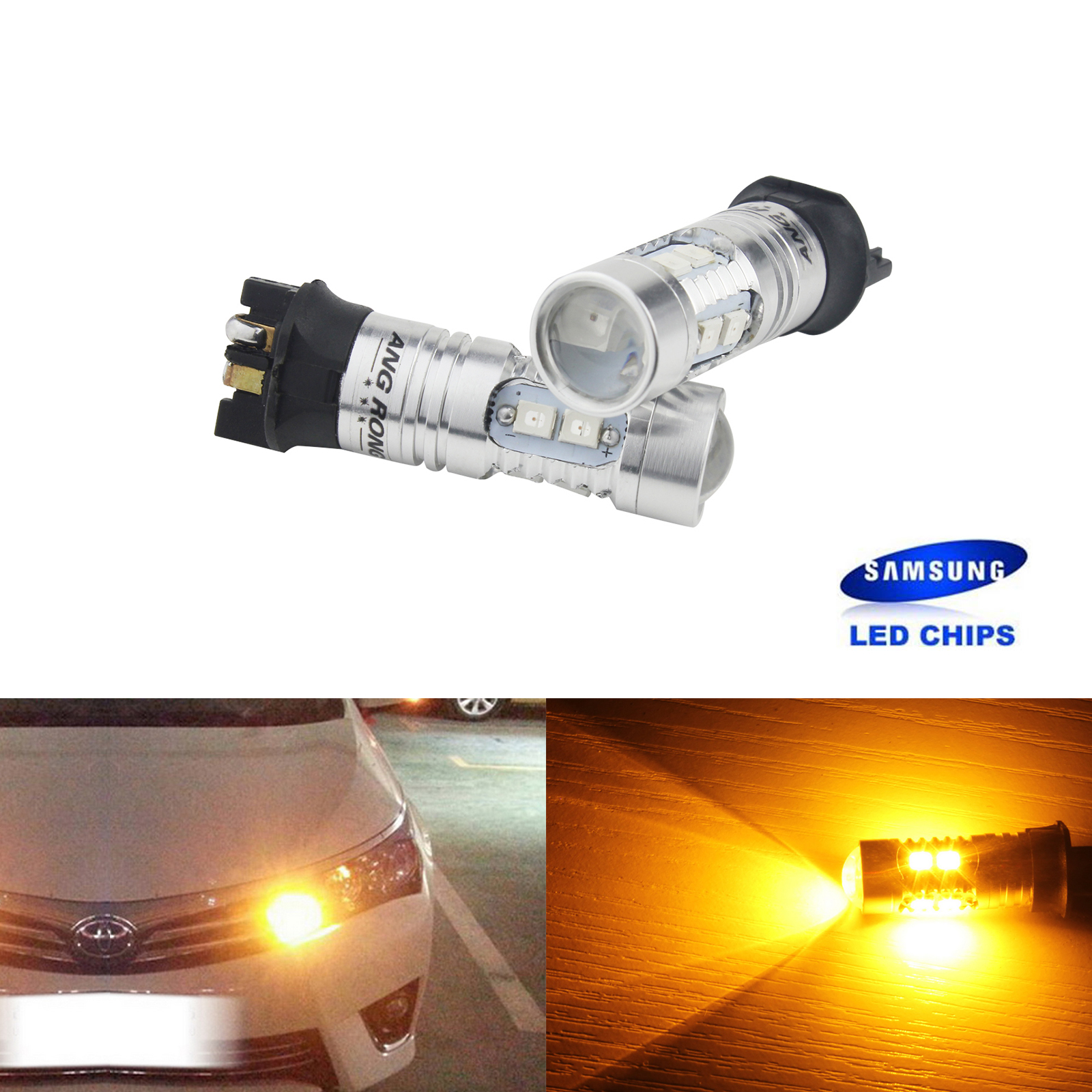 ANGRONG 2x Amber <font><b>PW24W</b></font> SAMSUNG LED Turn Signal Daytime Light For Audi Q3 A5 8T A4 8K A3 8V BMW Citron Peugeot Skoda VW Volvo image