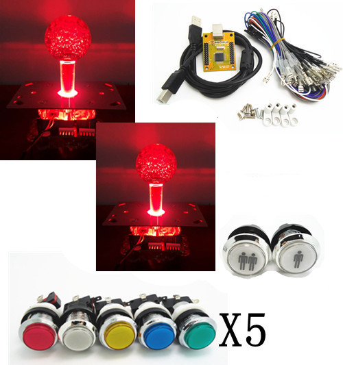 ФОТО lighting kit with silver lighted button 2 players PC PS 3 Arcade to USB controller 2 player MAME Multicade Keyboard Encoder