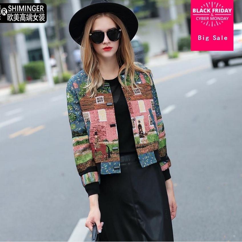 European Station Autumn New Fashion Brand Embroidery Short Outwear Tweed Short Jacket Mandarin Collar Blazer W1854