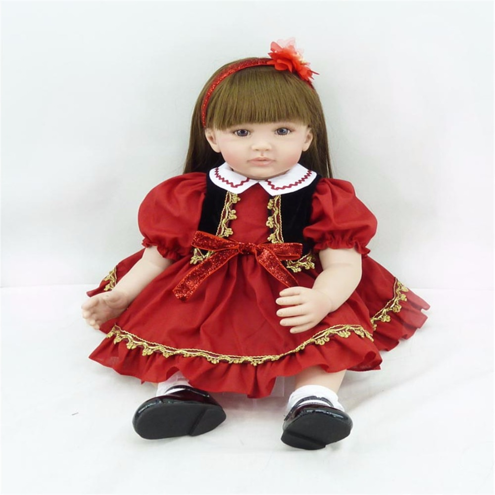 22 inch 55 cm Silicone baby reborn dolls, lifelike doll reborn babies toys Lovely beautiful doll Festival gift