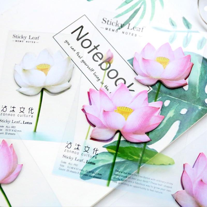 1 stks / partij Leuke Romantische lotus N-plakken Memo Pad Sticky - Notitieblokken en schrijfblokken bedrukken - Foto 3