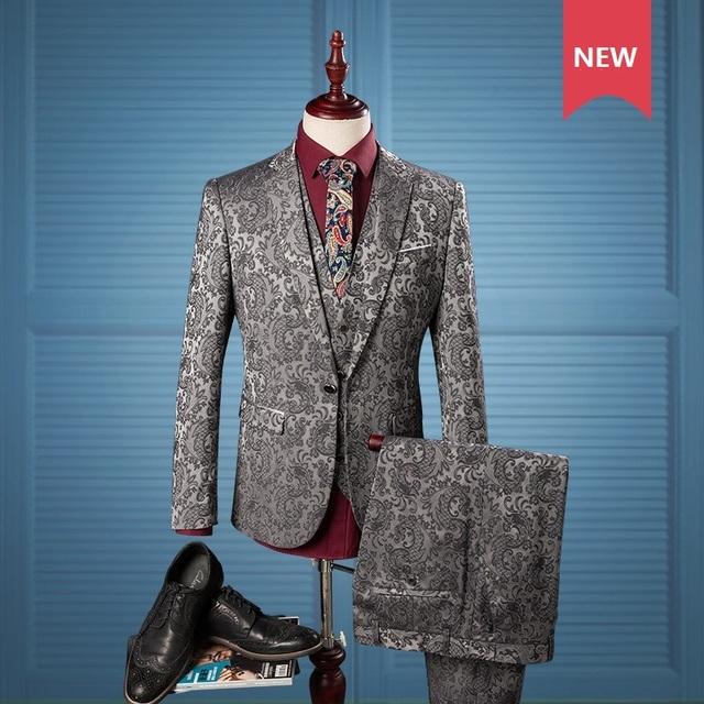 3 peças Mens Ternos De Prata Moda Jacquard Vestido Formal Conjunto Terno dos homens ternos de casamento Dos Homens smoking do noivo (Jacket + calça + Colete) Plus Size