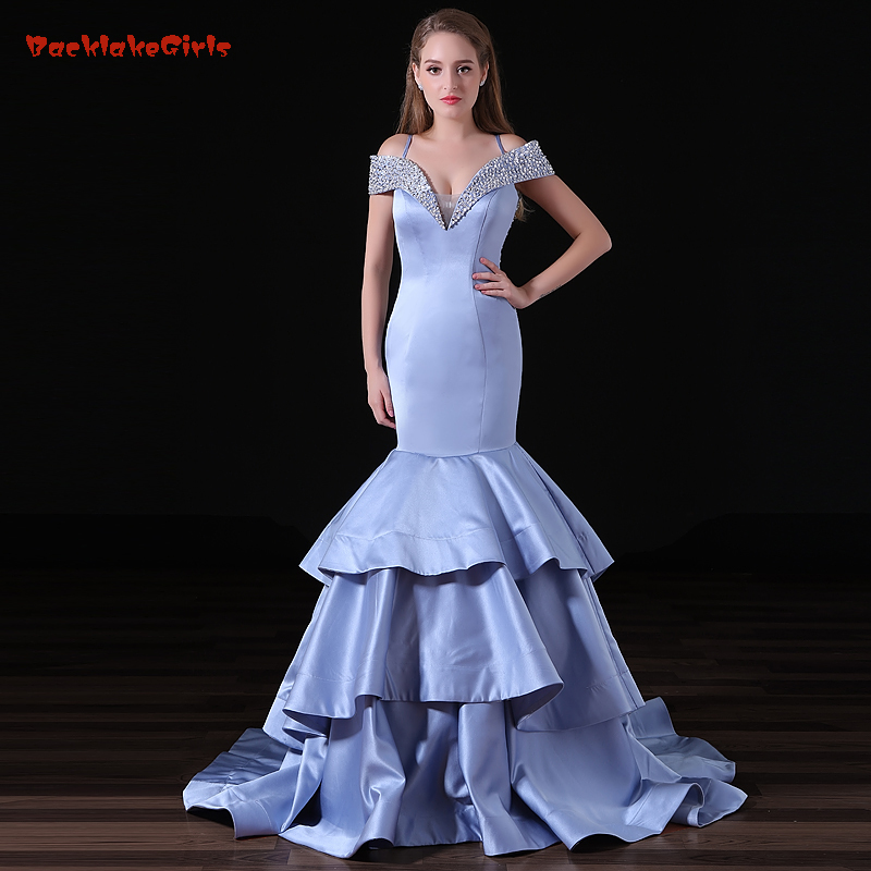 Vintage Sexy V-neck Long Evening Dress Sheath Mermaid Crystal Huge Ruffles Real Photo Customized Porm Celebrity Dresses