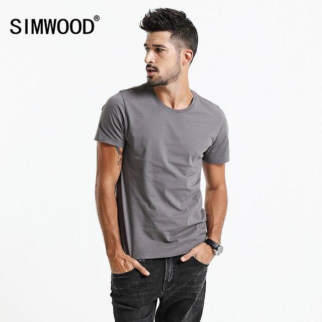 SIMWOOD 2018 Camisa Nova T Homens Slim Fit Cor Sólida Ocasional de fitness Tops 100% Algodão de Alta Qualidade Confortável Plus Size TD017101