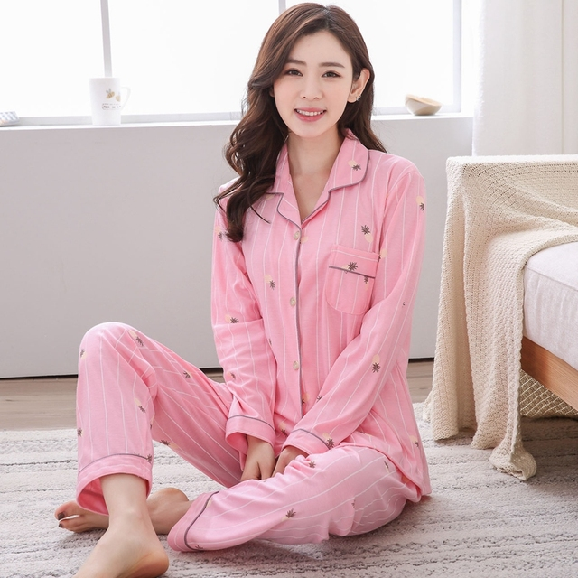 49a88ae7f0 Plus Size 5XL 100% Cotton Pajamas Sets for Women 2018 Autumn Winter Casual  Striped Homewear Long Sleeve Pyjamas Lounge Clothing