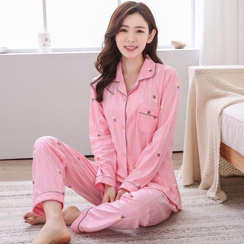 Plus Size 5XL 100% Cotton   Pajamas     Sets   for Women 2018 Autumn Winter Casual Striped Homewear Long Sleeve Pyjamas Lounge Clothing