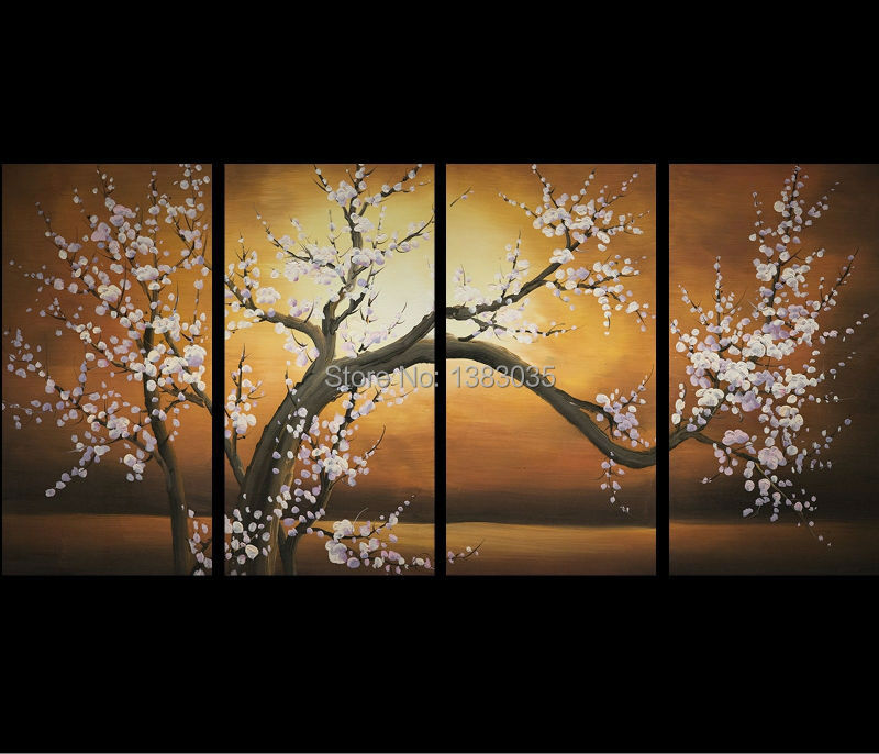 Hand painted modern abstract flowers oil paintings 4 piece wall decor cherry blossoms canvas art set pictures for home in painting calligraphy from home