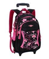 新しい子供トロリーバックパックスクールバッグ用grils車輪付きバッグ学生取り外し可能なローリングバックパック女性旅行バッグmochila