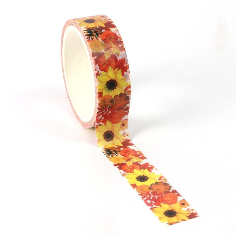 1pcs Creative Sunflower Washi Tape Adhesive Paper Tape School Office Supplies DIY Scrapbooking Decorative Sticker Tape 5m