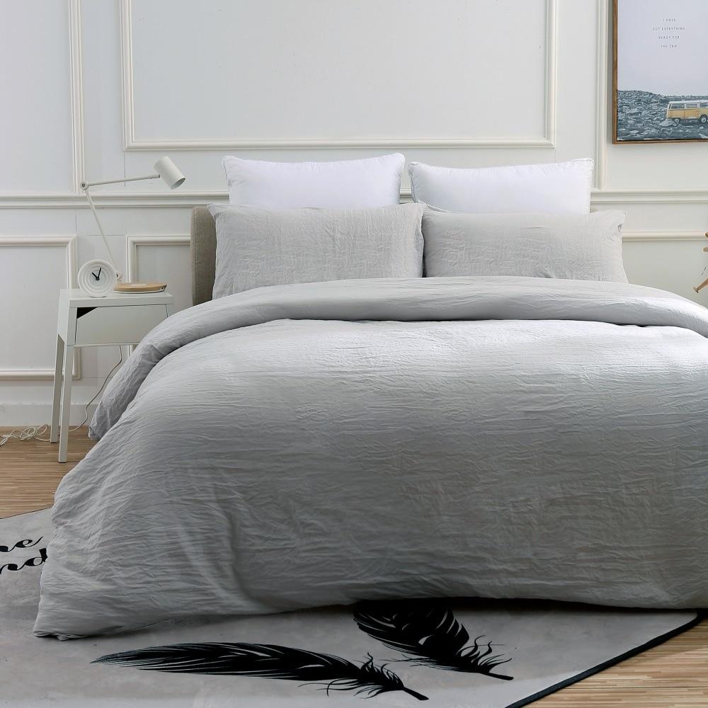 light grey super soft pre washed 3pcs bedding usa queen king size duvet cover set bedding sets. Black Bedroom Furniture Sets. Home Design Ideas