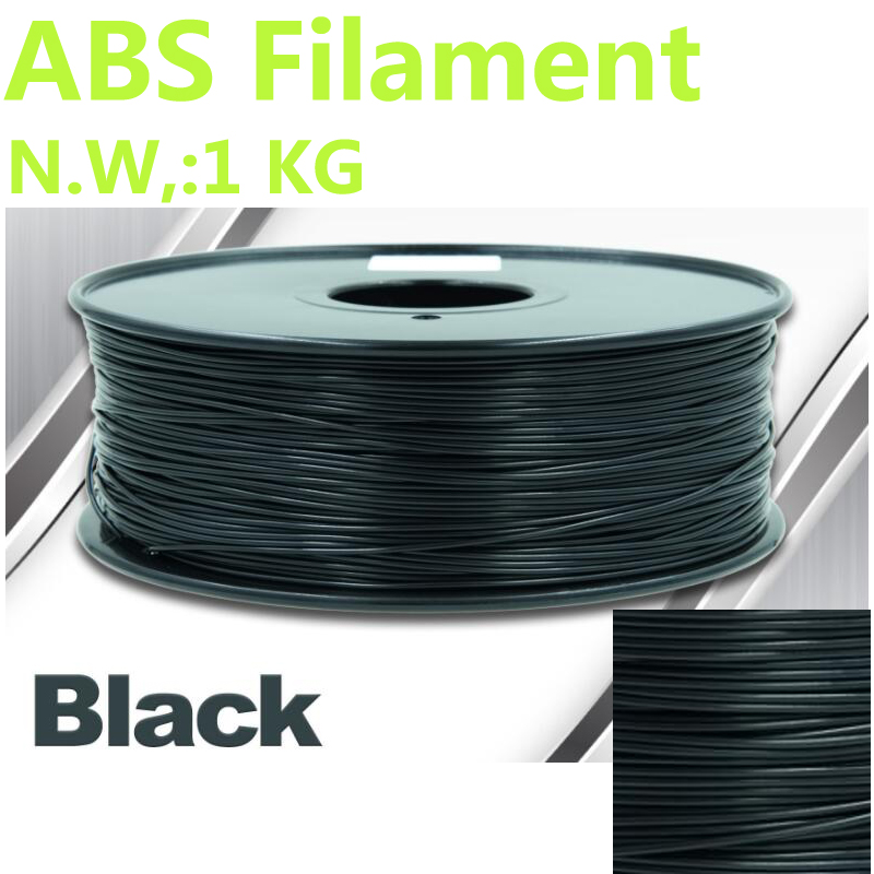 Black color abs filament 375mLength 3d filament 1KG ABS 1.75mm impresora 3d filament abs CHIMEI raw material 3d-pen 3d filament abs filament 1 75 in yellow color 1kg