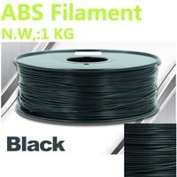 Zwarte kleur abs filament 375 mLength 3d filament 1 KG ABS 1.75mm impresora 3d filament abs CHIMEI grondstof 3d-pen 3d filament