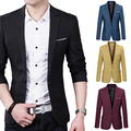 New Arrival Men's Solid Color Step Collar Slim Blazer Formal Business Wear One Button Suit