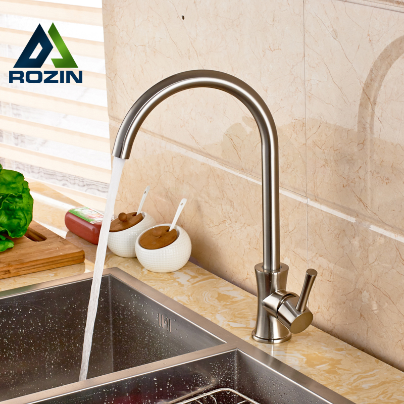 Brushed Nickel Kitchen Faucet Single Handle Deck Mounted One Hole with Hot and Cold Water Tap