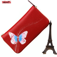 BJYL Fashion Women wallets cow Genuine Leather butterfly female purse tide hand holding party original handmade long wallets