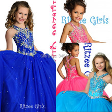 Girl's Pageant Dresses Princess Ruffle Beaded Tiered Organza Girl's Formal Dresses Lace Up
