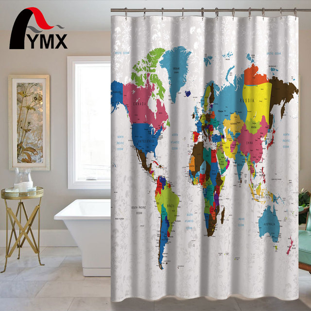 Waterproof Simple World Map Shower Curtain For The Bathroom Polyester Decorations Curtains Rideau De Douche