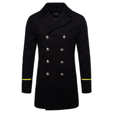 2018 black Winter Wool Jacket Coat Men New Trench Coat Long Sections Double Breasted Woolen Coats
