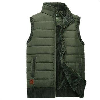 Осенне зимний жилет для мужчин, толстый теплый флисовый шерстяной жилет с подкладкой, Мужская ветровка с воротником стойкой, куртка без рук