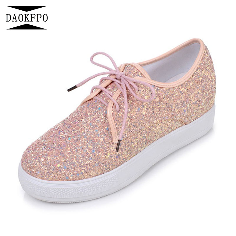 DAOKFPO Size 34 41 Women Shoes Spring Autumn 2018 New Woman Glitter Star Casual Shoe Flat Vulcanized shoes sneakers NVF 73