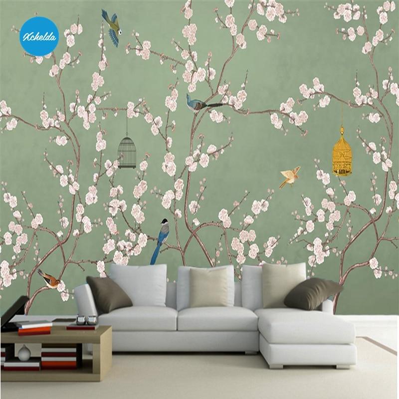 XCHELDA 3D Mural Wallpapers Custom Paint White Peony Dark Green Background Bedroom Living Room Wall Murals Papel De Parede