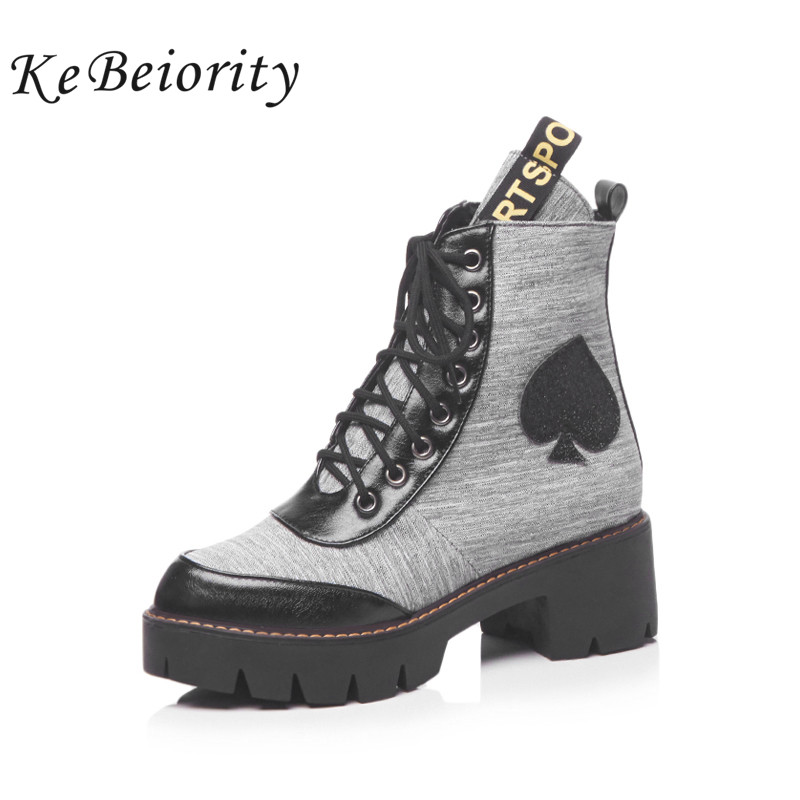 KEBEIORITY Fashion Women Boots Spring Autumn Platform Boots Heels Women Lace Up Punk Rock Shoes Plus Size Short Ankle Boots apoepo punk style silver mirror boots women lace up platform high heels shoes women boots sexy nightclub singer short boots